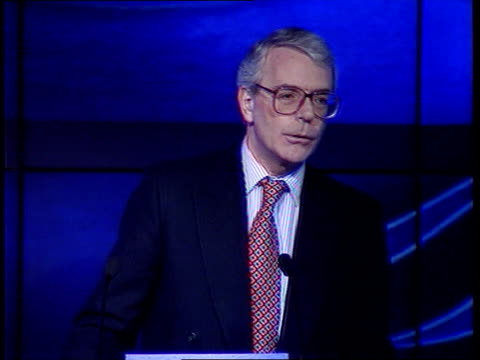Surrey Croydon PM John Major MP and wife Norma from Battle Bus and greeted Major smiling Seq Major and party along thru DIY store London Conservative...