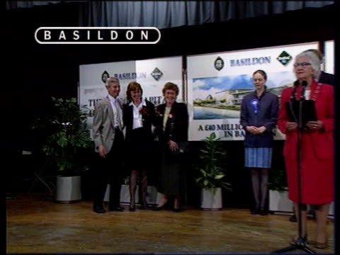 Labour landslide All ITN copyright ENGLAND Merseyside Southport Ronald Fearn as returning officer shakes his hand Candidates standing at microphones...