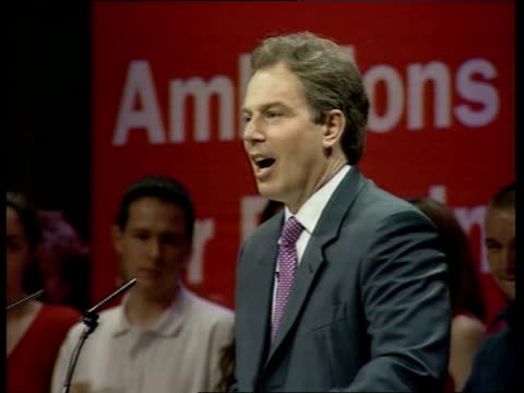 Labour manifesto launch/General campaigning ITN ENGLAND Birmingham Prime Minister Tony Blair and Deputy Prime Minister John Prescott along for launch...