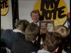 Party manifestos History/ impact National Liberal Club TMS Lib Dem Ldr Paddy Ashdown holds up manifesto for photocall ZOOM IN TX 16392 ITN Tory...