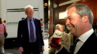 Stuart Wheeler helps fund UKIP campaign LIB SLOW MOTION Stuart Wheeler towards along road carrying briefcase/ SPLIT SCREEN old footage of stock...