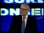 Tory manifesto launched ITN ENGLAND London Conservative Central Office PM John Major MP to podium to launch Tory manifesto Press Major holds up copy...