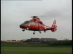 Campaign Kinnock ENGLAND Yorkshire Sheffield G/AIR Helicopter brining Labour Leader Neil Kinnock to rally landing CMS Kinnock seen thru window of...