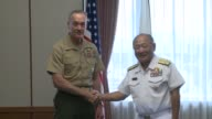 General Joe Dunford the chairman of the US joint chiefs of staff meets with his Japanese counterpart Katsutoshi Kawano in Japan