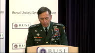 General Petraeus speech at the RUSI in London General Petraeus speech SOT In response to the need for medical services the international community...