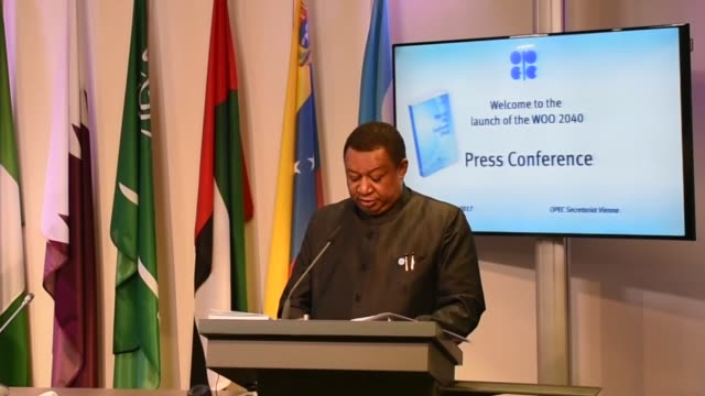 General Secretary Mohammed Barkindo and OPEC Research Division Director Ayed AlQahtani attend the press conference of the 2017 OPEC World Oil Outlook...