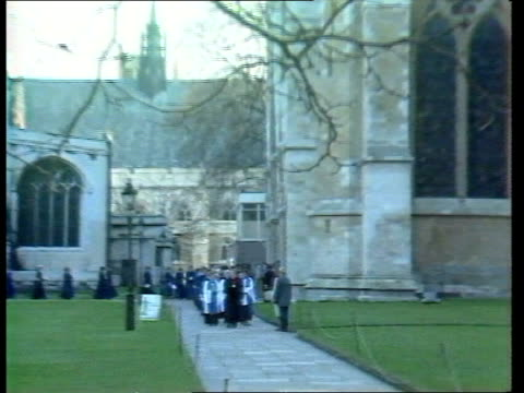 General Synod votes to allow ordination of women priests ITN LIB London Westminster Abbey Precinct LMS Procession of Female deacons along towards...