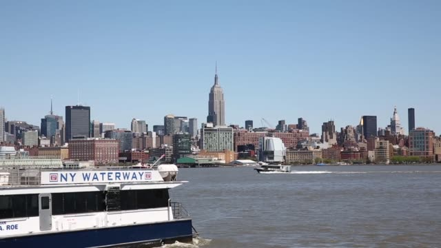 ELS general view of Manhattan skyline from the Hudson River shot in New York on the 5th of May 2014