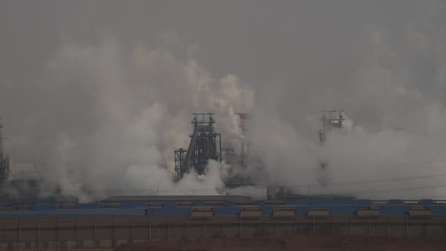 A general view of Qian'an steelworks on January 20 2016 in Tangshan China Beijing is surrounded by steelworks in Hebei province and most of them make...