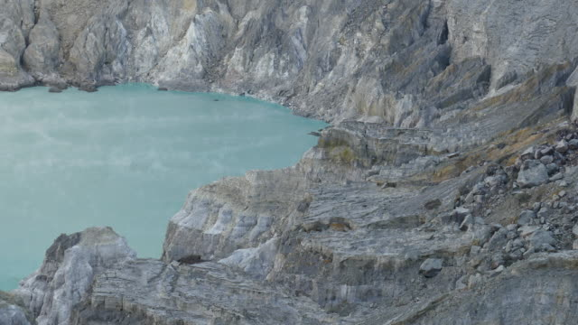 General view of sulfur mining operation and acid lake
