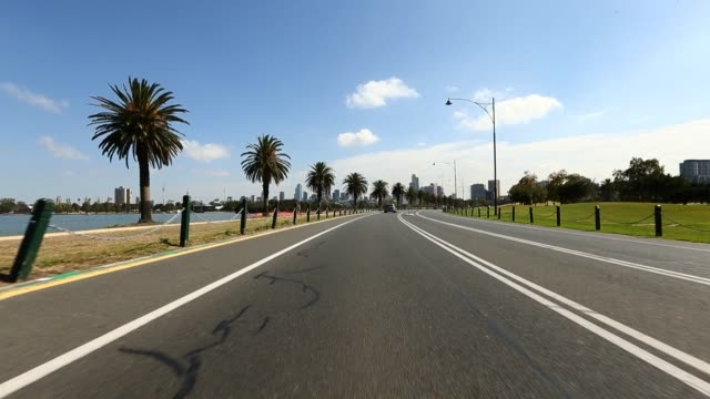 A general view of the circuit in racing direction as the track is prepared for the Australian Formula One grand Prix at Albert Park on February 8...
