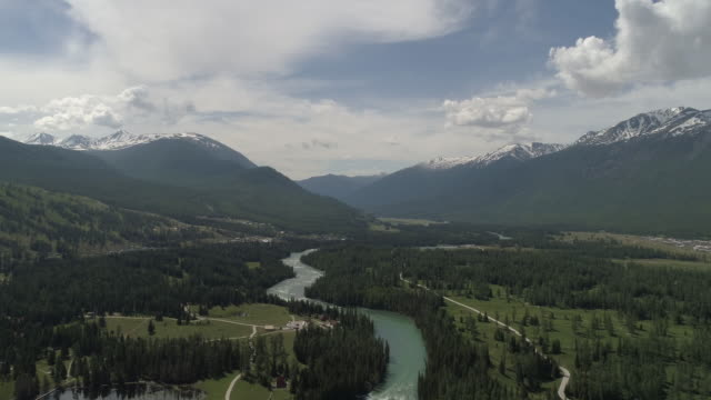 A general view of the Kanas lake during the 2017 Xtrail Altay World Adventure Cross Country Race on June 6 2017 in Altay China