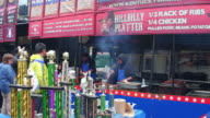 General view of the kiosk or stand selling the famous ribs Many sellers have obtained awards for the quality of their product