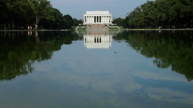 General view of the Lincoln Memorial from across the Reflecting Pool on the National Mall August 8 2016 in Washington DC