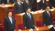 A general view shows the opening of the Fourth Session of the 12th National Committee of the Chinese People's Political Consultative Conference at...