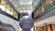 General views a logo sits on a sculpture in the main atrium of the London Stock Exchange Group Plc's headquarters in London UK on Friday Oct 18 Share...