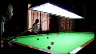 Great Yarmouth / Boston / Grimsby INT Men playing snooker in snooker hall / white snooker ball being hit with cue / snooker balls on table / men...