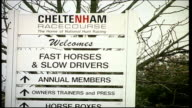 General views of Cheltenham Racecourse ENGLAND Cheltenham Cheltenham Racecourse EXT Cheltenham Racecourse location sign PULL OUT / Welcome to...