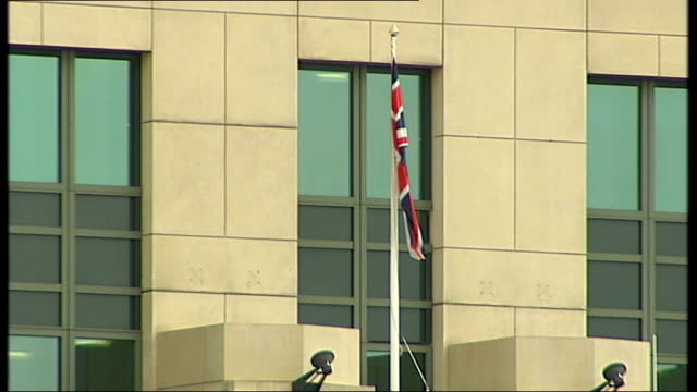 General views of MI6 building in London ENGLAND London Vauxhall EXT General views of MI6 building including Union Jack flag flying and close shots of...