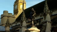 General views of Portcullis House General views of Oliver Cromwell statue / more of Cromwell statue with Big Ben clock tower partly seen in...