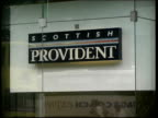 general views of Scottish Provident SCOTLAND Edinburgh EXT GV sign in window 'Scottish Provident' / GVS Scottish Provident building / GVS sign in...