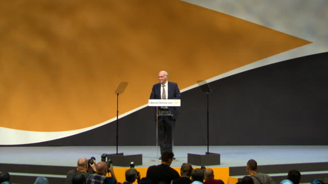 General views of Sir Vince Cable speaking at the Liberal Democrat Autumn party conference in Bournemouth September 2017 [no sound] NNBZ122H ABSA627D