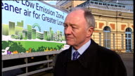 General views of smog over London / Kev Livingstone at Low Emission Zone launch Ken Livingstone interview SOT It is a good day for Londoners who...