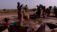General views of village life Donkeys drinking from trough / Women drawing water from well donkeys drinking from trough in foreground / Women wearing...