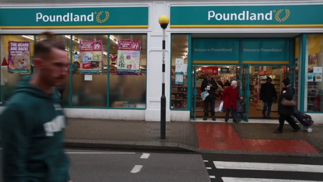 General views signage outside a Poundland discount store operated by Poundland Group Plc in the Fulham district of London UK on Wednesday Nov 26...