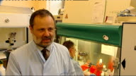 General views Stem cell research workers in laboratory Professor Anthony Hollander interview SOT Charged with challenge of creating 6 million...