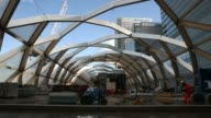 General views the unfinished entrance to the Canary Wharf Crossrail station in London UK on Friday Feb 21 General views construction work on site of...