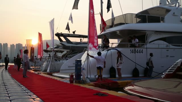 General views yachts are berthed at the Macau Qingzhou Yacht Club during the China International Yacht Import and Export Fair in Macau China on...