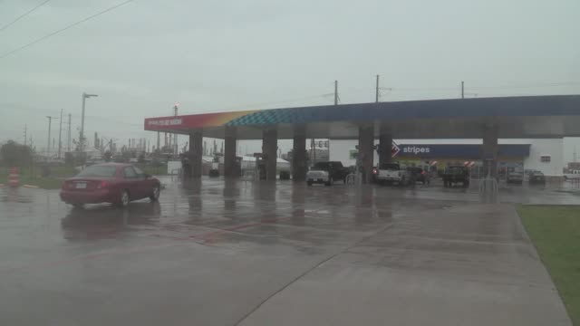 Generic footage of a Sunoco gas station in Houston Texas US on Aug 25 2017 Hurricane Harvey set to make landfall on the center of the Texas coast...