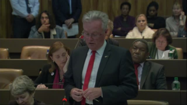 Survivors angry with the council over delays in finding them new homes Cllr J Robert Atkinson speaking at Kensington and Chelsea Council meeting SOT