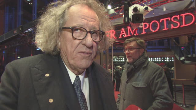 INTERVIEW Geoffrey Rush on his character low budgets working with Staniey Tucci at Berlin Film Festival 'Final Portrait' Red Carpet at Berlinale...
