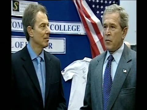 George Bush talks about US and UK standing strong at press conference with Tony Blair Nov 03