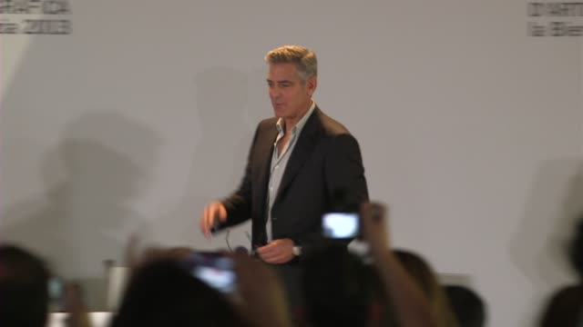 George Clooney and Sandra Bullock at Gravity Press Conference on August 28 2013 in Venice Italy