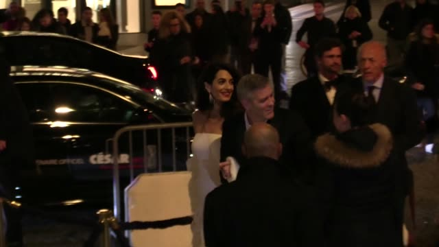 George Clooney and wife Amal go to Cesar ceremony after diner at Le Fouquets in Paris on February 24 2017 in Paris France