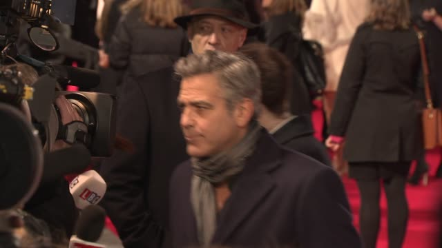 George Clooney at 'The Monuments Men' UK Film Premiere at National Gallery on February 11 2014 in London England