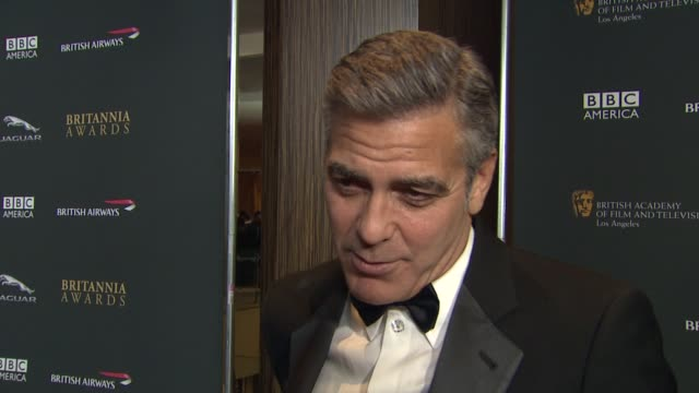 INTERVIEW George Clooney on how it feels to be honored at 2013 BAFTA Los Angeles Jaguar Britannia Awards Presented By BBC America in Beverly Hills CA...