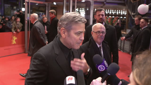 INTERVIEW George Clooney on making fun of him self working with the Coen Brother at 'Hail Caesar' Opening Ceremony Red Carpet 66th Berlin...