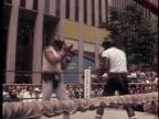 WPIX George Foreman and Joe Frazier prepare for their rematch near Rockefeller Center George Foreman and Joe Frazier at Practice Match on April 01...