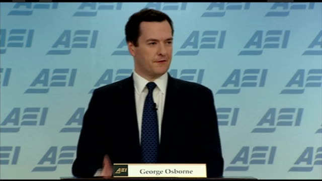 George Osborne defends the UK's economic recovery INT Logo PAN to '2014 Spring Meetings' Close shot of flag logo George Osborne MP speech SOT cutting...