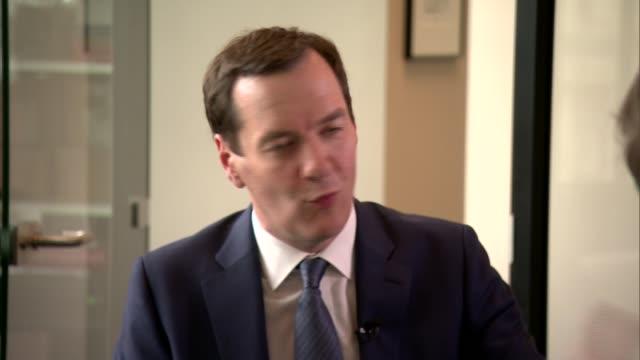 George Osborne interview ENGLAND London INT George Osborne interview SOT re HS3 / Northern Powerhouse / Crossrail