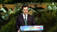 George Osborne Ken Clarke and Philip Hammond press conference on the economy ENGLAND London Westminster INT George Osborne MP speech SOT Good morning...