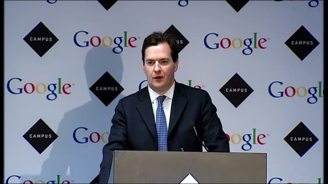 George Osborne speech at Google Campus launch ENGLAND London PHOTOGRAPHY** George Osborne MP speech SOT It's a great pleasure to be here at the...