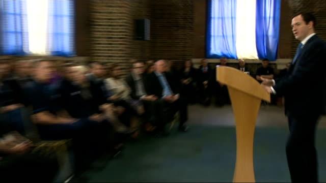 George Osborne Tilbury Visit and Speech Cuts GVs George Osborne MP speech SOT with cutaways of audience listening