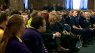 George Osborne Tilbury Visit and Speech Cuts GVs Osborne along to podium / George Osborne MP speech SOT with cutaways of audience listening