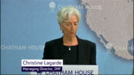 George Osborne warned by IMF to prepare for further economic decline Chatham House Christine Lagarde speech SOT the risk levels are rising the policy...