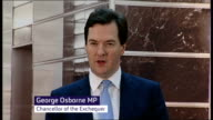 George Osborne's electrifying threat to break up banks ENGLAND INT George Osborne MP speech SOT If a bank flouts the rules the regulator and the...